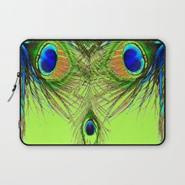 CHARTREUSE BLUE-GREEN PEACOCK FEATHERS ART PATTERNS Laptop Sleeve