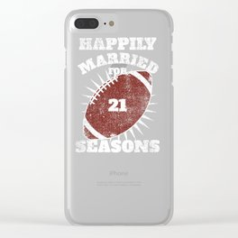 21st Anniversary Football Twenty One Seasons Together Clear iPhone Case