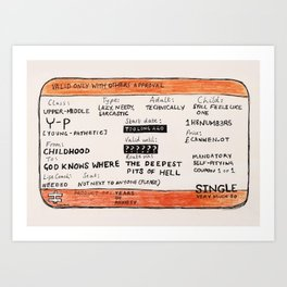 Life Crisis in a Train Ticket Art Print