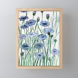 Scabiosis Blue Flowers Floral Watercolor Illustration Framed Mini Art Print