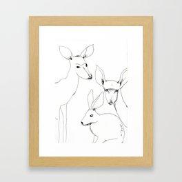 Deers and Rabbit Framed Art Print