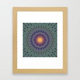 Happy Sun Circle Bohemian Geometric Thread Weave Pattern \\ Yellow Green Blue Purple Color Scheme Framed Art Print
