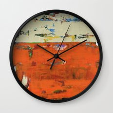 Roadrunner Bright Orange Abstract Colorful Art Painting Wall Clock