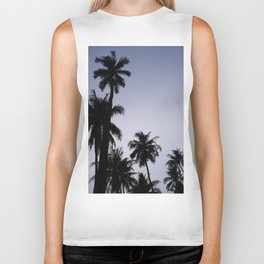 Tropical palm trees in sunset blue Biker Tank