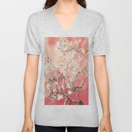 Van Gogh Almond Blossoms : Peach Unisex V-Neck