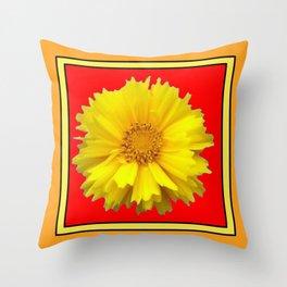 DECORATIVE RED COREOPSIS MODERN ART Throw Pillow