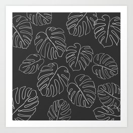 black leaf monstera Art Print