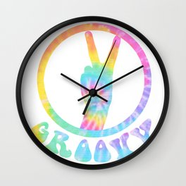 Retro Stylish Seventies Graphics Tee Shirt Gift Cool Vintage Groovy 70s 1970s Style Disco Colors Wall Clock