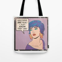 unicorns Tote Bags featuring Unicorns by heymonster