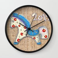 calendar Wall Clocks featuring 2014 horse calendar by Katja Main