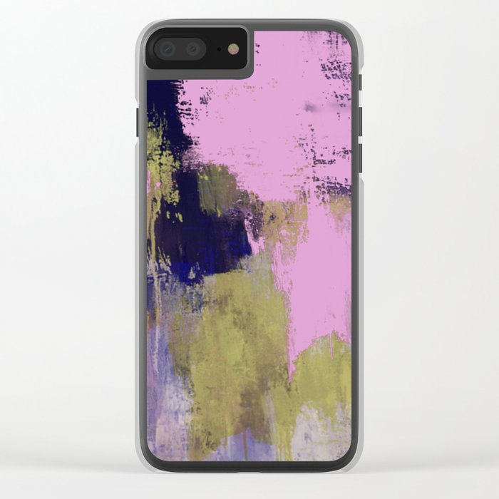 Wild Lilac - Abstract, textured, lilac, purple, blue and yellow oil painted artwork Clear iPhone Case