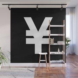 Yen Sign (White & Black) Wall Mural