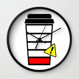Coffee cup, Coffee sticker, Low Caffeine, Low Battery, Wall Clock