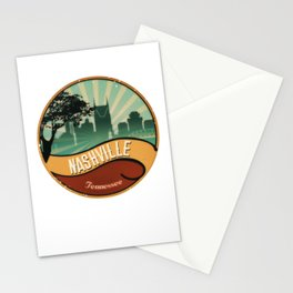 Nashville City Skyline Tennessee Retro Vintage Design Stationery Cards