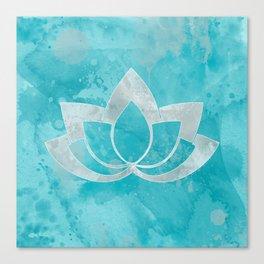 Lotus Flower on Aqua Canvas Print
