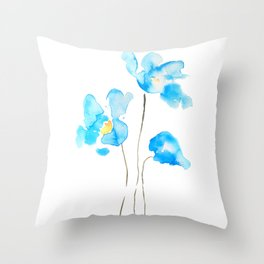 abstract Himalayan poppy flower watercolor Throw Pillow