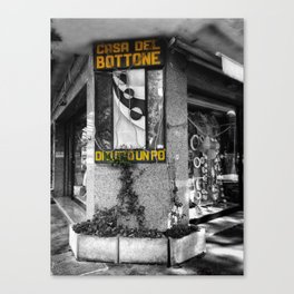 Italian Vintage Shop Black and White Photography Canvas Print
