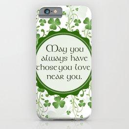 Irish Blessing Shamrock Background iPhone Case