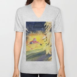 Skiing Art Unisex V-Neck