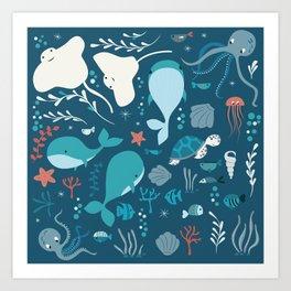 Sea creatures 004 Art Print