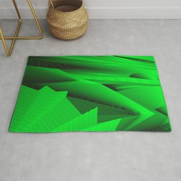 Psychedelic foil green landscap with stylised mountains, sea and Sun. Rug