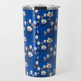 Magnolia blue floral Travel Mug