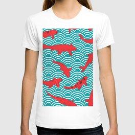 Koi carp. Red fish. black outline sketch doodle. azure teal burgundy maroon Nature oriental backgrou T-shirt