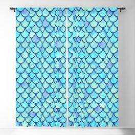 Blue Mermaid Scales Blackout Curtain