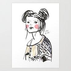 Gwen - Hipster Girl in Marker and Gouache Art Print