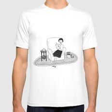 I'll get by as long as I have books White Mens Fitted Tee MEDIUM