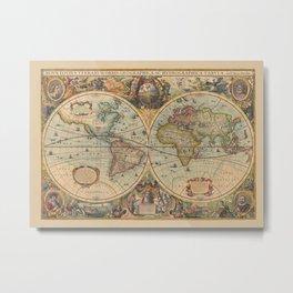 Vintage old World map published  1630 Metal Print