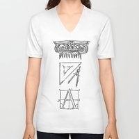 tool V-neck T-shirts featuring Architect's Tool Kit by Fiorella Modolo