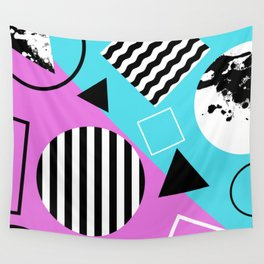 Stripes And Splats 1 - Wacky, Random, Abstract, Black And White Stripes, Blue and pink Artwork Wall Tapestry