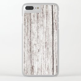 Pale Brown Wood Cottage Chic Rustic Wood Grain Texture Clear iPhone Case