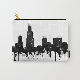 Watercolor Chicago Skyline Carry-All Pouch
