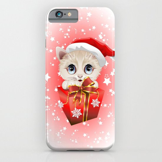 Kitten Christmas Santa with Big Red Gift iPhone & iPod Case