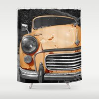 grand theft auto Shower Curtains featuring Orange Auto by Beyond Reason