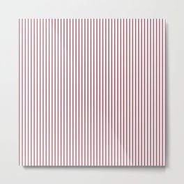 Red ticking stripes Metal Print