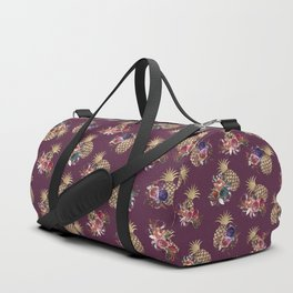 Summer Pink Burgundy Gold Watercolor Floral Pineapples Duffle Bag