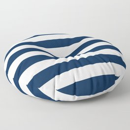 Slate Blue and White Stripes  - Navy Nautical Pattern Floor Pillow
