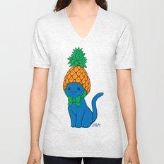 Blue Cat Wears Pineapple Hat Unisex V-Neck