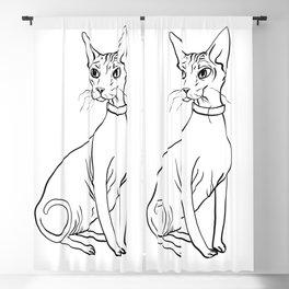 Elegant Sphynx Kitty - Line Art - Minimal Black and White Blackout Curtain