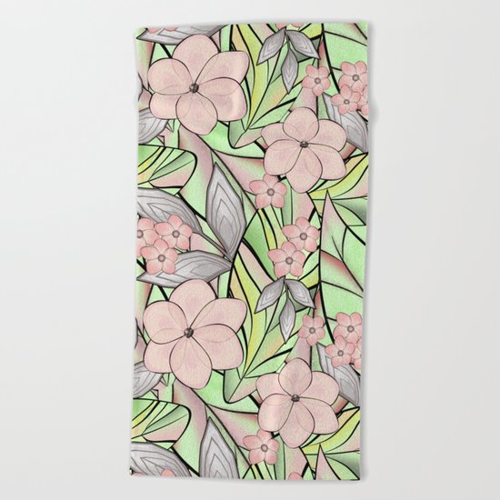 Delicate tropical floral pattern. Beach Towel