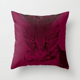 savannah cat portrait vabr Throw Pillow