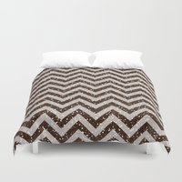 bisexual Duvet Covers featuring Sparkling glitter chevron pattern - coffee IV by Better HOME