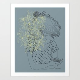 Slow and lillies Art Print
