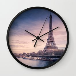 Eiffel Tower Sunset Wall Clock