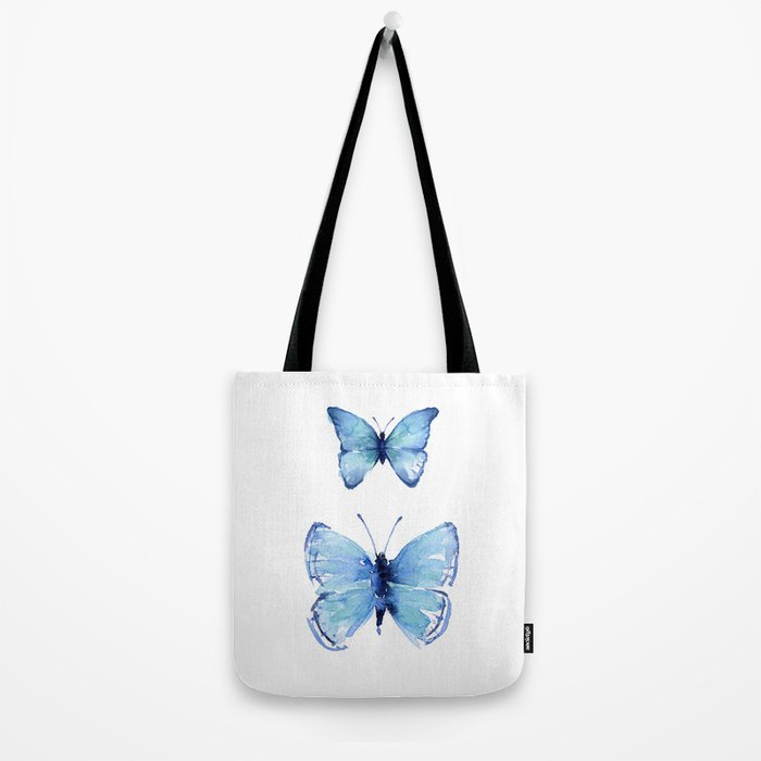 Two Blue Butterflies Watercolor Animals Insects Tote Bag