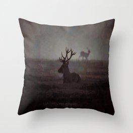 Silhouette Of A Highland Stag Throw Pillow