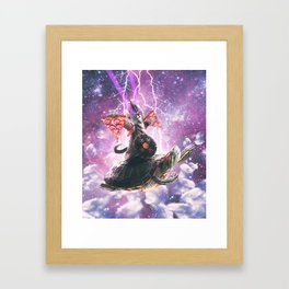Lazer Warrior Space Cat Riding Turtle With Pizza Framed Art Print